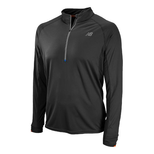 Mens New Balance Impact Long Sleeve 1/2 Zip Technical Tops - Black XS