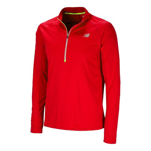 Mens New Balance Impact Long Sleeve 1/2 Zip Technical Tops - Velocity Red M