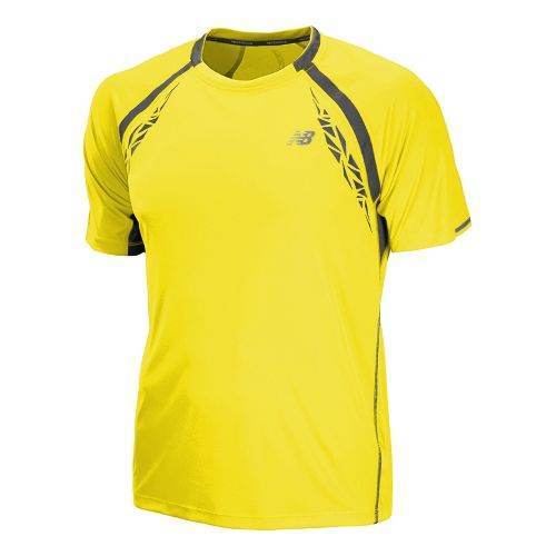 Mens New Balance Impact Short Sleeve Technical Tops - Atomic Yellow S