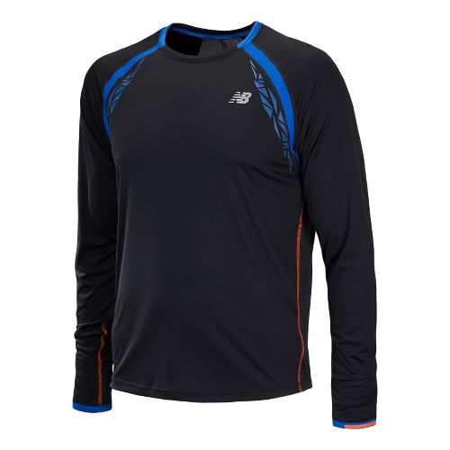 Mens New Balance Impact Long Sleeve No Zip Technical Tops - Black L