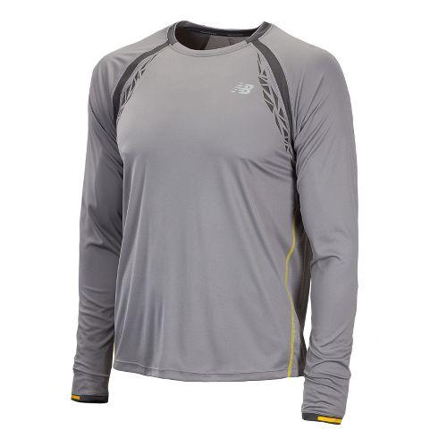 Mens New Balance Impact Long Sleeve No Zip Technical Tops - Silver Filigree L