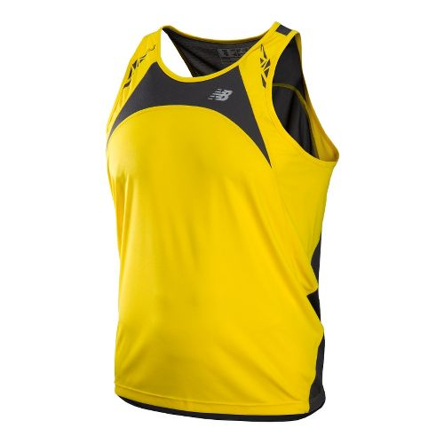 Mens New Balance Impact Singlets Technical Tops - Atomic Yellow XL