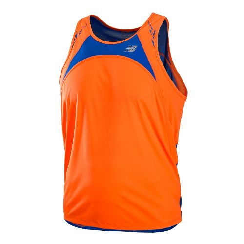 Mens New Balance Impact Singlets Technical Tops - Shocking Orange L