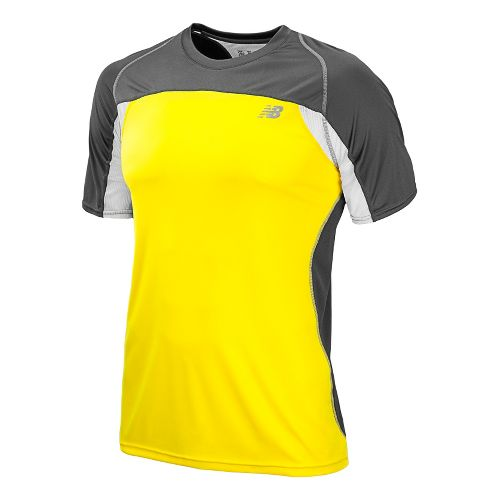 Mens New Balance Momentum Short Sleeve Technical Tops - Atomic Yellow M