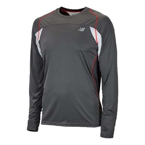 Mens New Balance Momentum Long Sleeve No Zip Technical Tops - Velocity Red XS