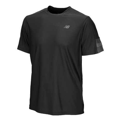 Womens New Balance Cross Run Short Sleeve Technical Tops - Black L
