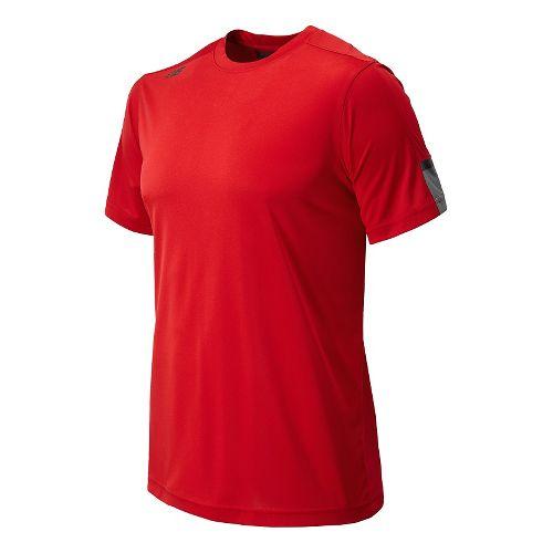 Womens New Balance Cross Run Short Sleeve Technical Tops - Red L