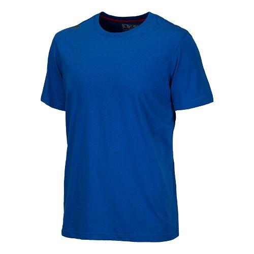 Mens New Balance Cross Run Performance Short Sleeve Technical Top - Optic Blue XS