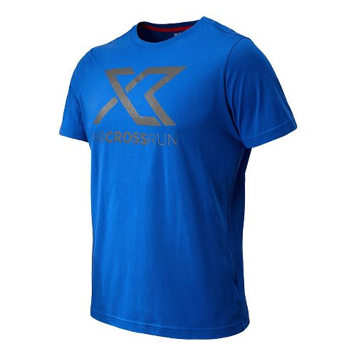 Mens New Balance Cross Run Graphic Tee Short Sleeve Technical Top - Cobalt XL