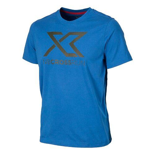 Mens New Balance Cross Run Graphic Tee Short Sleeve Technical Tops - Laser Blue L ...