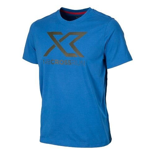 Mens New Balance Cross Run Graphic Tee Short Sleeve Technical Top - Laser Blue S ...