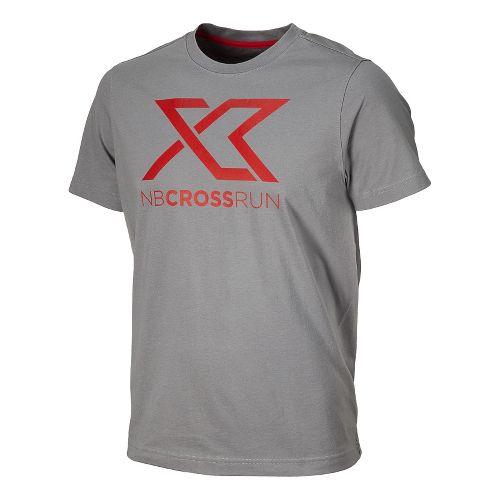 Mens New Balance Cross Run Graphic Tee Short Sleeve Technical Top - Silver Filigree XL ...