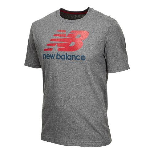 Womens New Balance Essentials Short Sleeve Technical Tops - Heather Grey S