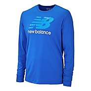 Mens New Balance Essentials Long Sleeve No Zip Technical Tops