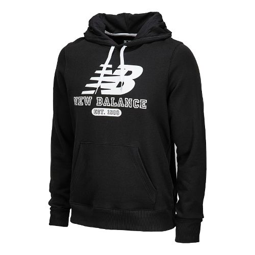 Mens New Balance Essentials Pullover Hoodie Long Sleeve No Zip Technical Tops - Black L ...