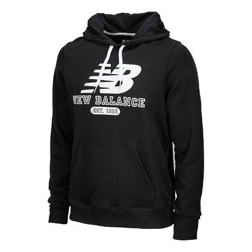 Mens New Balance Essentials Pullover Hoodie Long Sleeve No Zip Technical Tops - Black XL ...