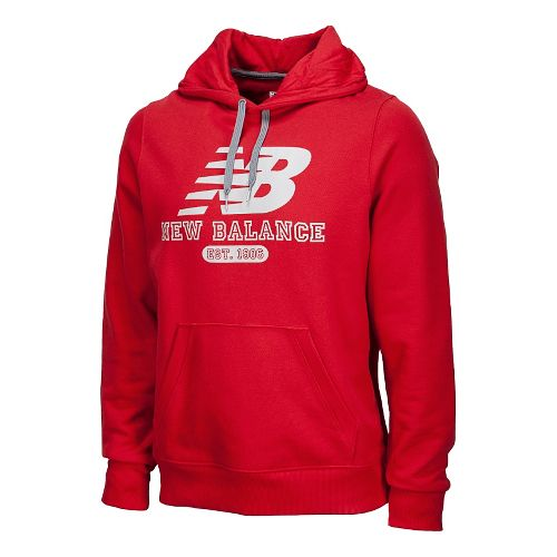 Mens New Balance Essentials Pullover Hoodie Long Sleeve No Zip Technical Tops - Crimson XL ...