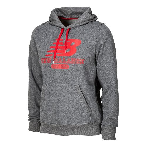 Mens New Balance Essentials Pullover Hoodie Long Sleeve No Zip Technical Tops - Heather Grey ...