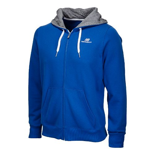 Mens New Balance Essentials Full Zip Hoodie Running Jackets - Cobalt L
