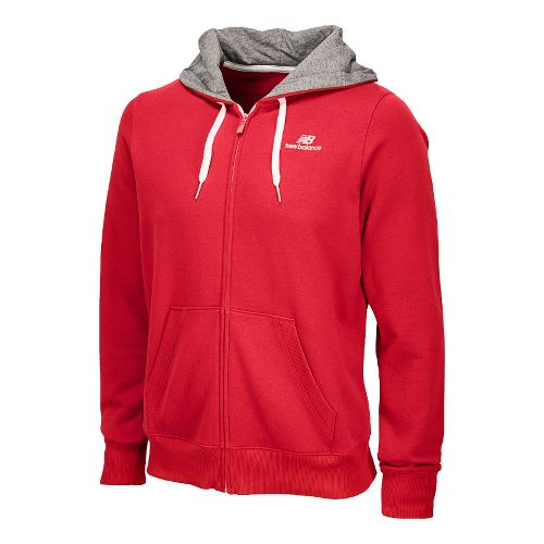 Mens New Balance Essentials Full Zip Hoodie Running Jackets - Crimson S