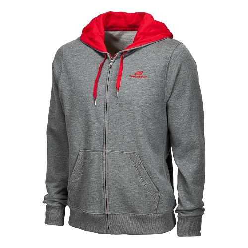 Mens New Balance Essentials Full Zip Hoodie Running Jackets - Heather Grey XS