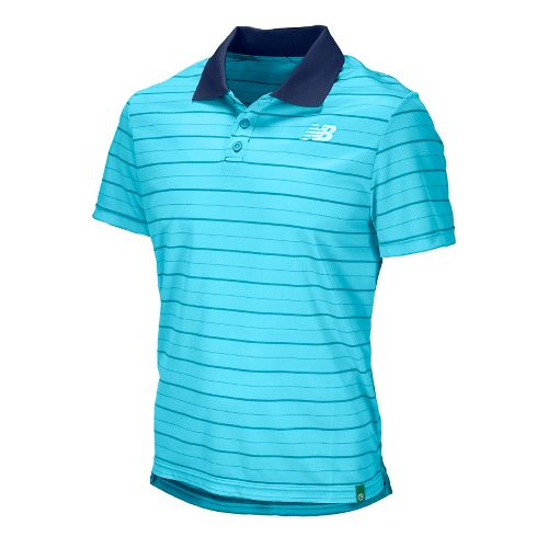 Mens New Balance Casino 2 Polo Short Sleeve Technical Tops - Techtonic Blue L