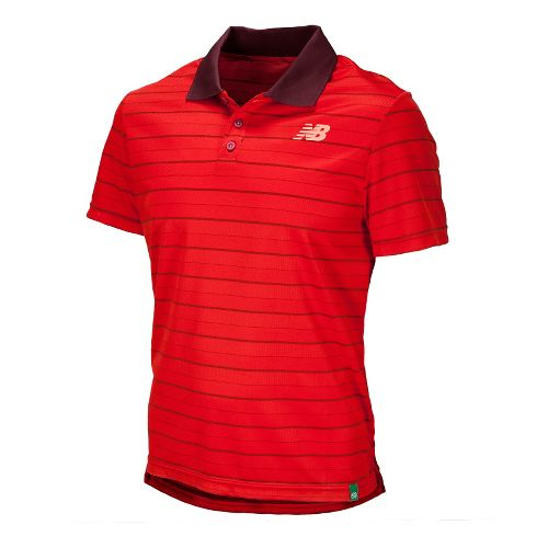 Mens New Balance Casino 2 Polo Short Sleeve Technical Tops - Velocity Red L