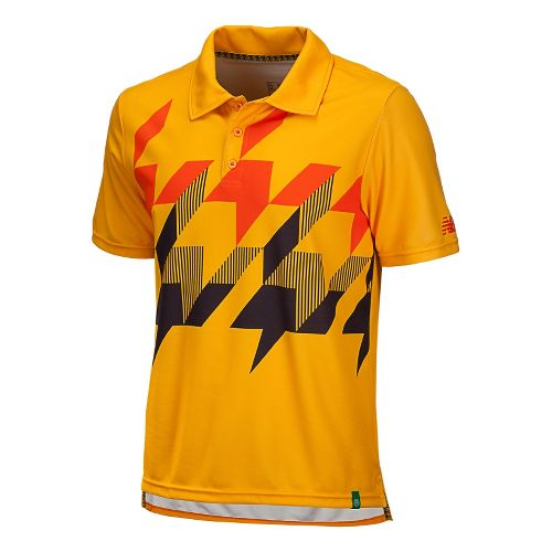 Mens New Balance Geospeed Polo Short Sleeve Technical Tops - Golden Blaze S