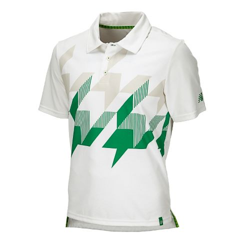Mens New Balance Geospeed Polo Short Sleeve Technical Tops - White/Astroturf S