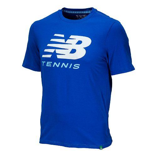 Mens New Balance Big Brand Tennis Tee Short Sleeve Technical Tops - Cobalt S