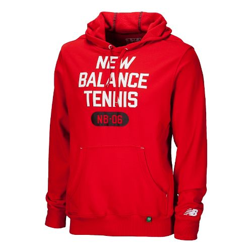 Mens New Balance Muni Hoodie Long Sleeve No Zip Technical Tops - Velocity Red S ...