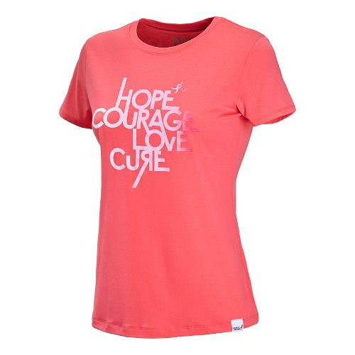 Womens New Balance Komen Mantra Tee Short Sleeve Technical Tops - Watermelon/Strawberry S