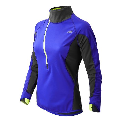 Womens New Balance Windblocker Long Sleeve 1/2 Zip Technical Tops - UV Blue L