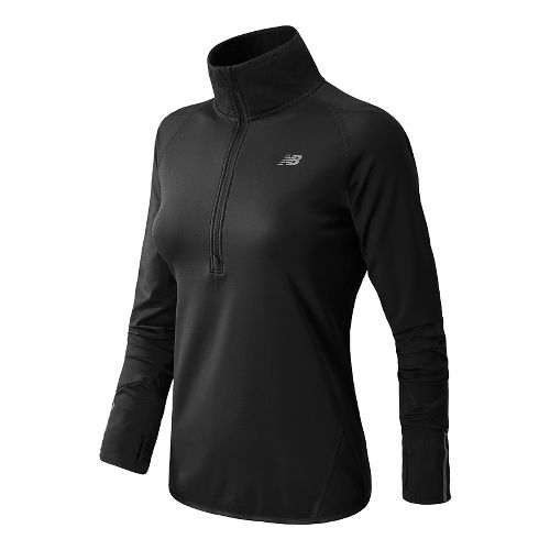 Womens New Balance NB Heat Long Sleeve 1/2 Zip Technical Tops - Black L