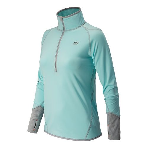 Womens New Balance NB Heat Long Sleeve 1/2 Zip Technical Tops - Glacier XS