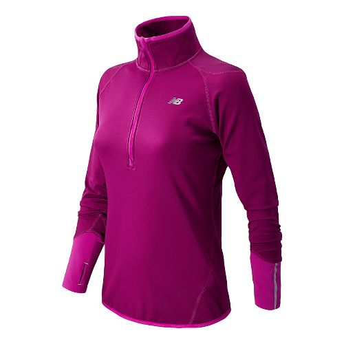 Womens New Balance NB Heat Long Sleeve 1/2 Zip Technical Tops - Mullberry L