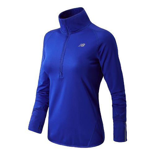 Womens New Balance NB Heat Long Sleeve 1/2 Zip Technical Tops - UV Blue XS ...
