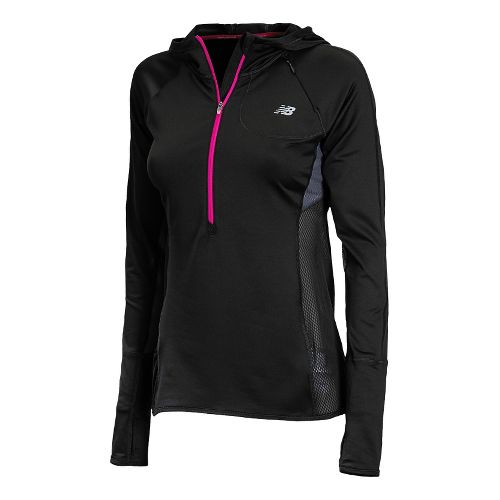 Womens New Balance Impact Hoodie Warm-Up Hooded Jackets - Black/Poisonberry XL