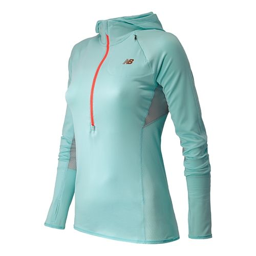 Womens New Balance Impact Hoodie Warm-Up Hooded Jackets - Glacier XS