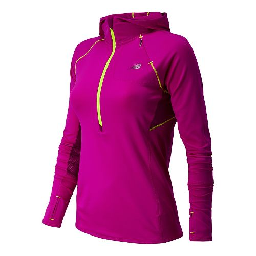 Womens New Balance Impact Hoodie Warm-Up Hooded Jackets - Poisonberry XS