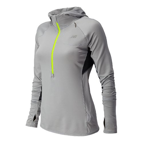 Womens New Balance Impact Hoodie Warm-Up Hooded Jackets - Silver Mink S