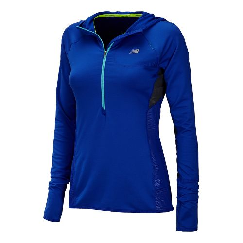 Womens New Balance Impact Hoodie Warm-Up Hooded Jackets - UV Blue L