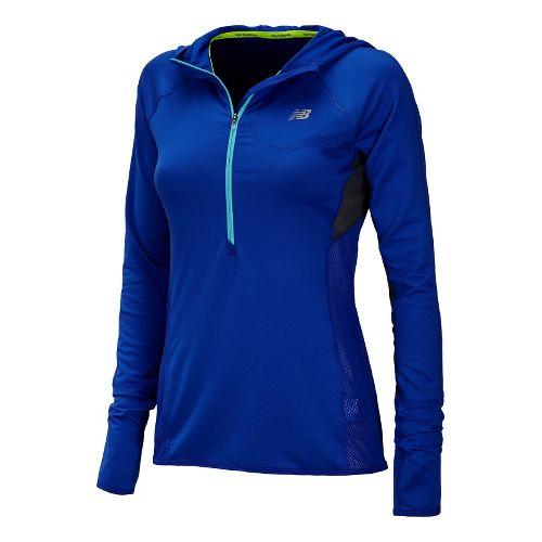 Womens New Balance Impact Hoodie Warm-Up Hooded Jackets - UV Blue XS