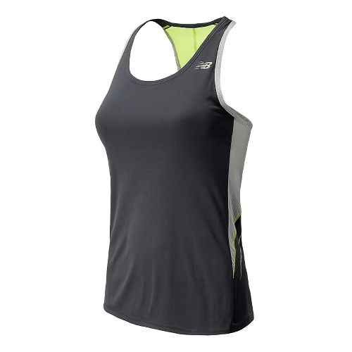 Womens New Balance NB Ice Racerback Tanks Technical Tops - Anthracite XL