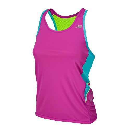 Womens New Balance NB Ice Racerback Tanks Technical Tops - Poisonberry L