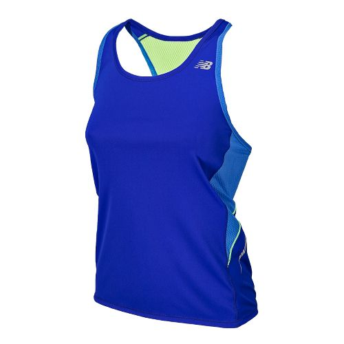Womens New Balance NB Ice Racerback Tanks Technical Tops - UV Blue XS