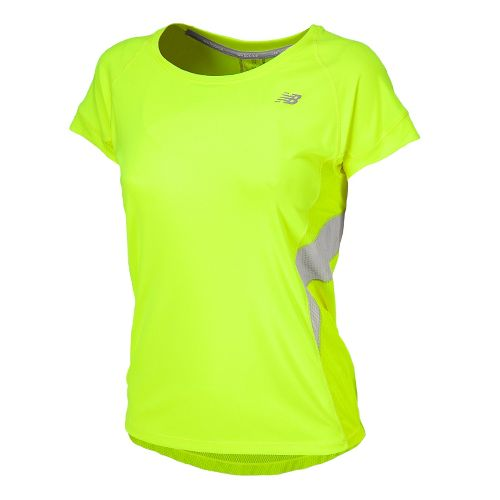 Womens New Balance NB Ice Short Sleeve Technical Tops - Hi-Lite XS
