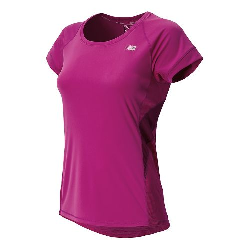 Womens New Balance NB Ice Short Sleeve Technical Tops - Poisonberry S