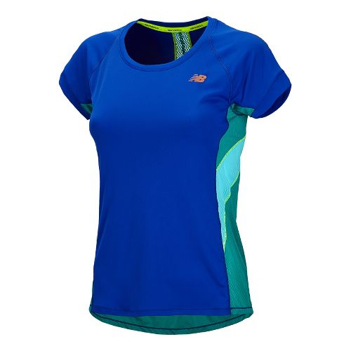 Womens New Balance NB Ice Short Sleeve Technical Tops - UV Blue XL