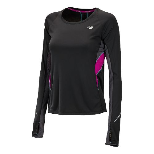 Womens New Balance NB Ice Long Sleeve No Zip Technical Tops - Black/Poisonberry M